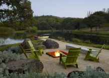 Firepit and informal seating on the edge of the natural pond and spring