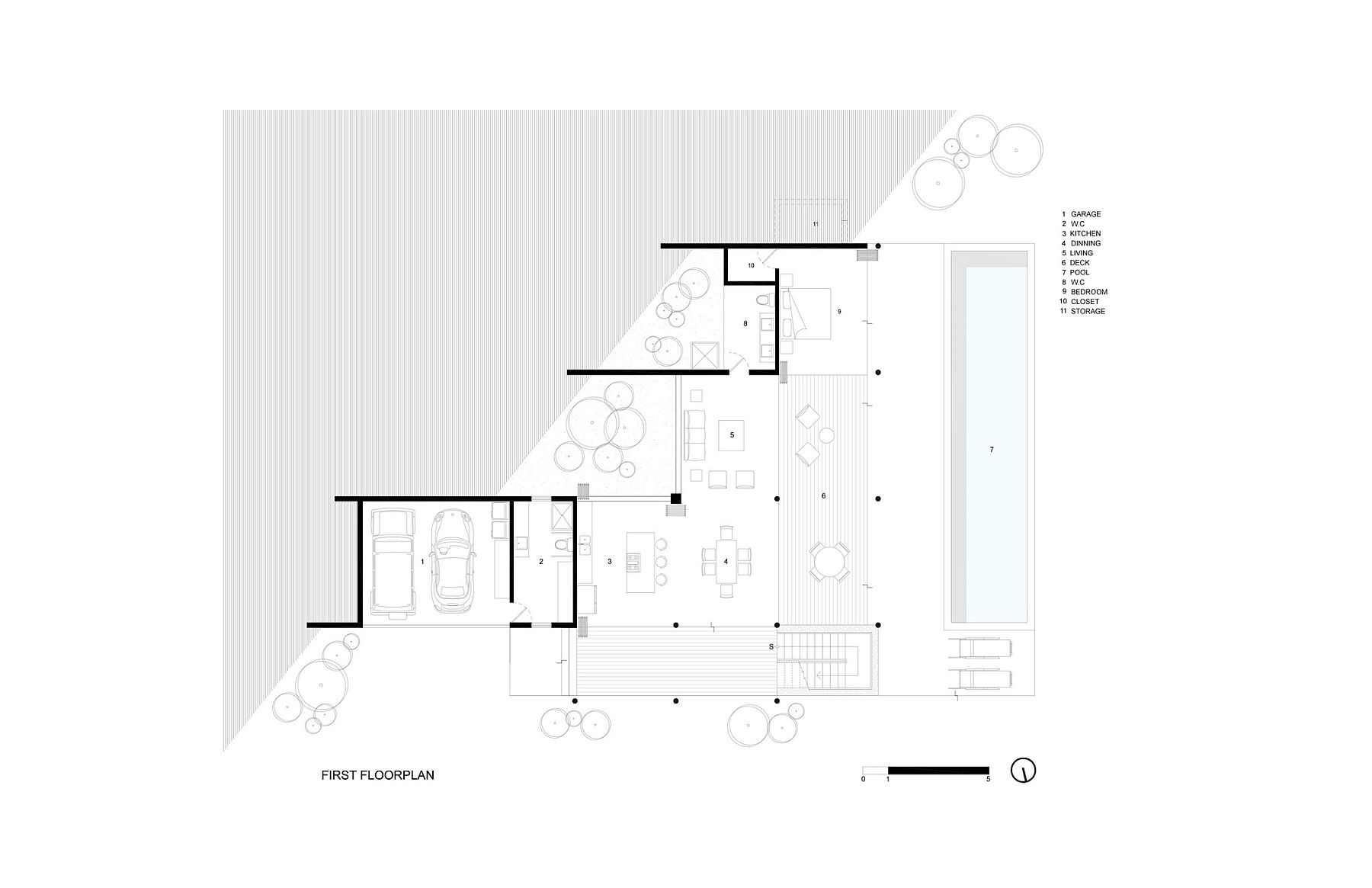 First level floor plan with open living area