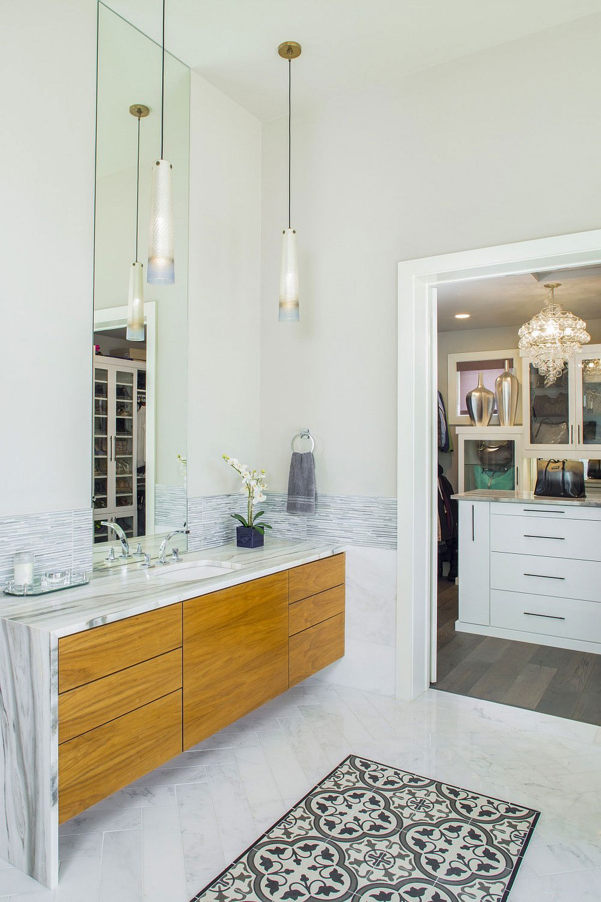 Floating bathroom vanity with marble top