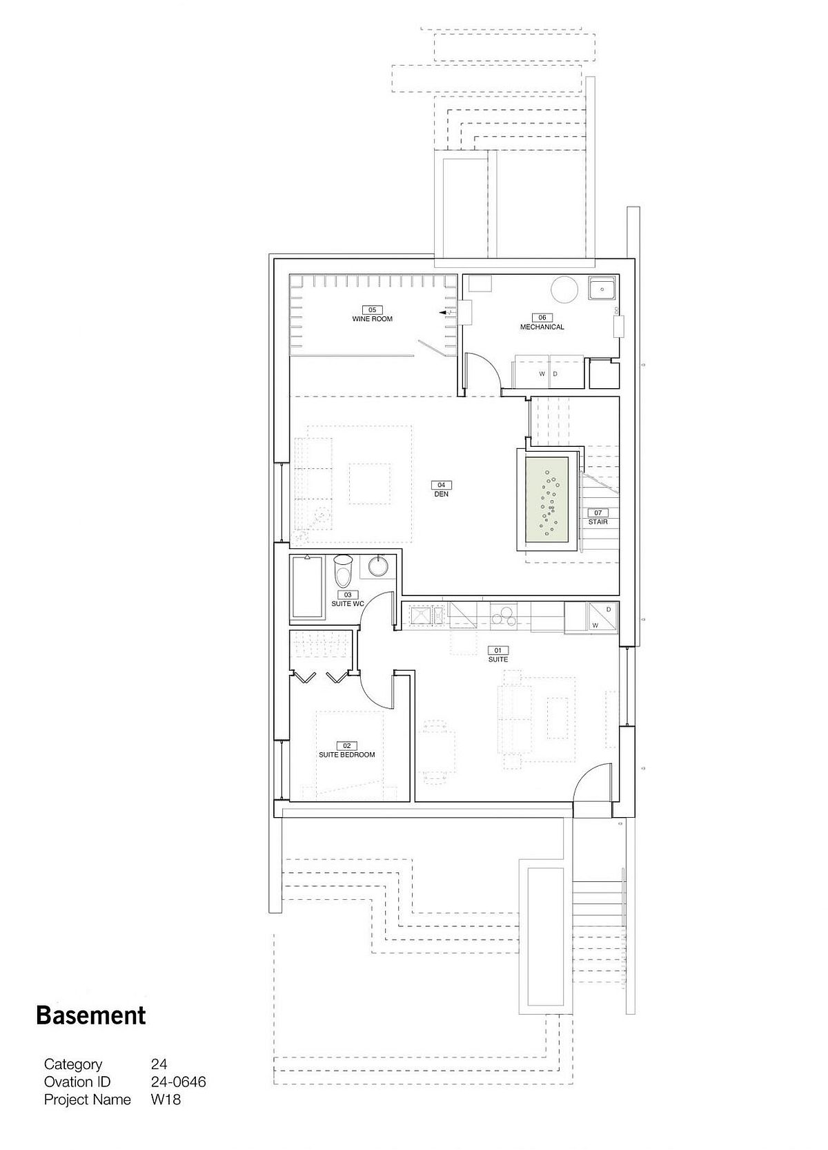 Floor plan of basement level of home in Vancouver