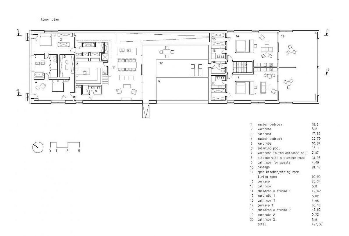 Floor plan of sophisticated contemporary home in Kharkiv, Ukraine