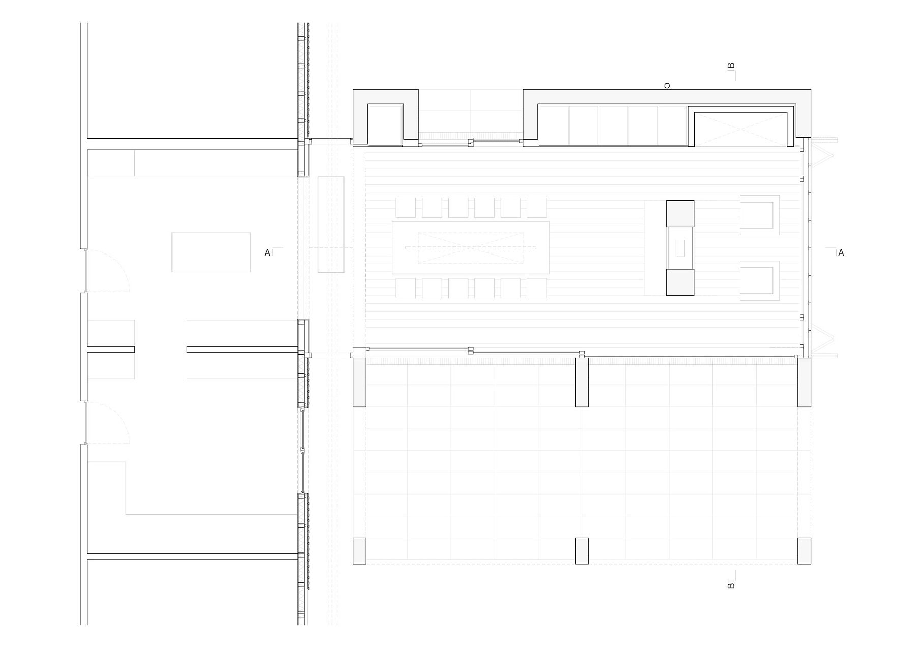 Floor plan of the contemporary extension to tomber house in Leipzig, Germany