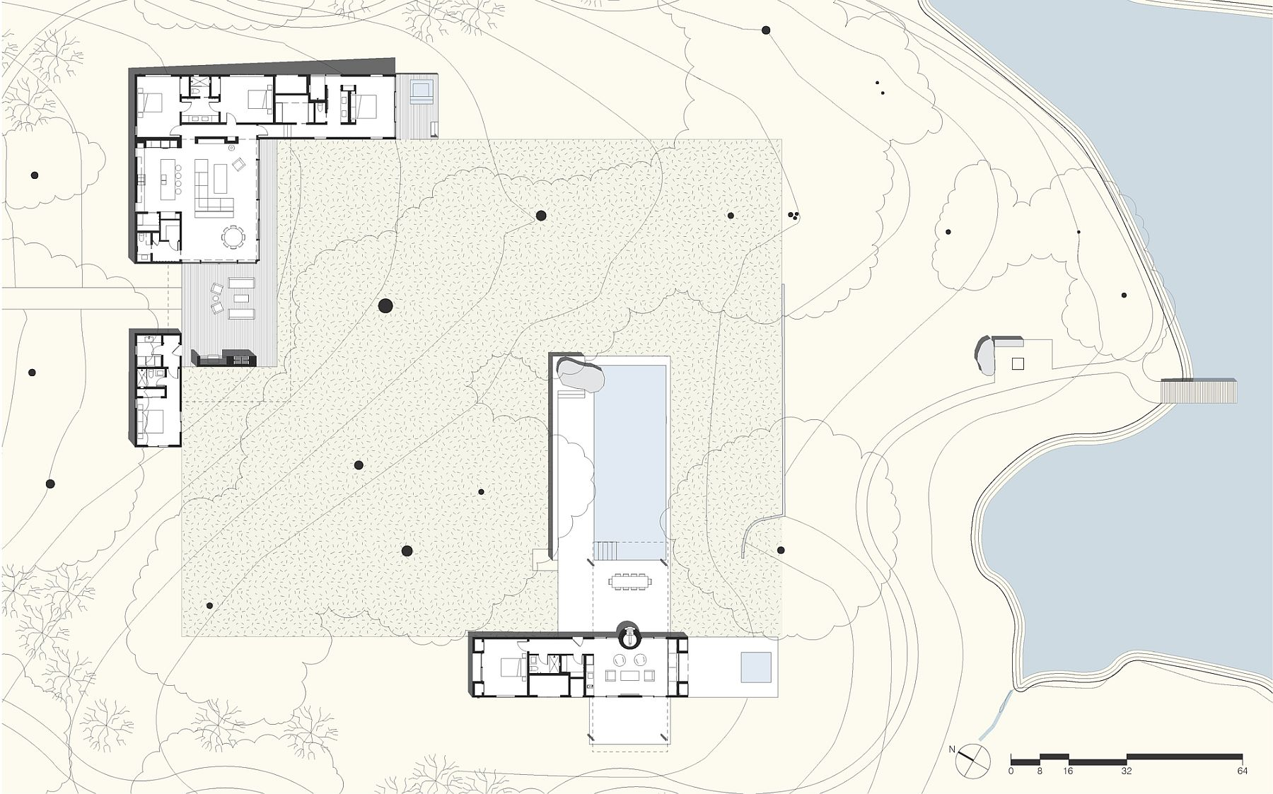 Floor plan of the fabulous and serene Sonoma Residence with natural pond