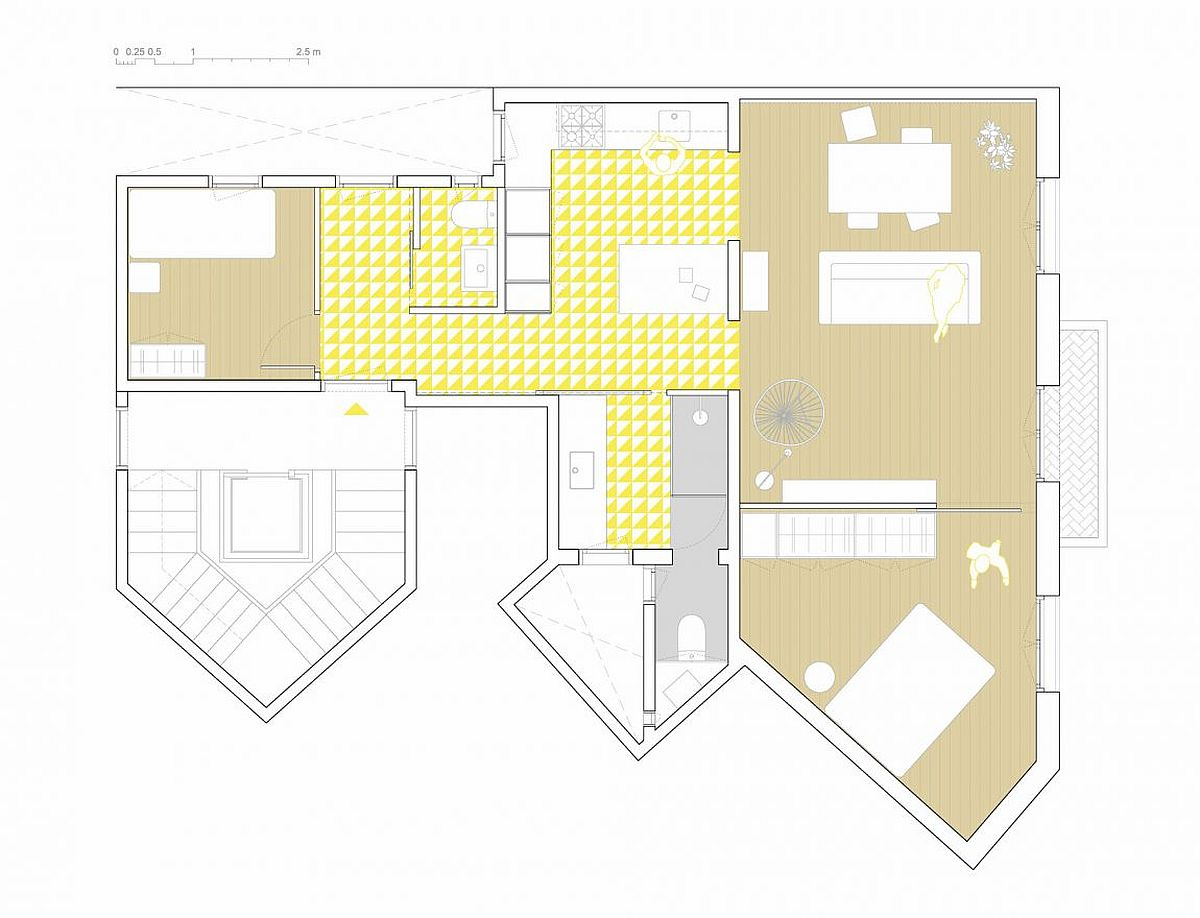 Floor plan of the revamped residence in Eixample district of Barcelona