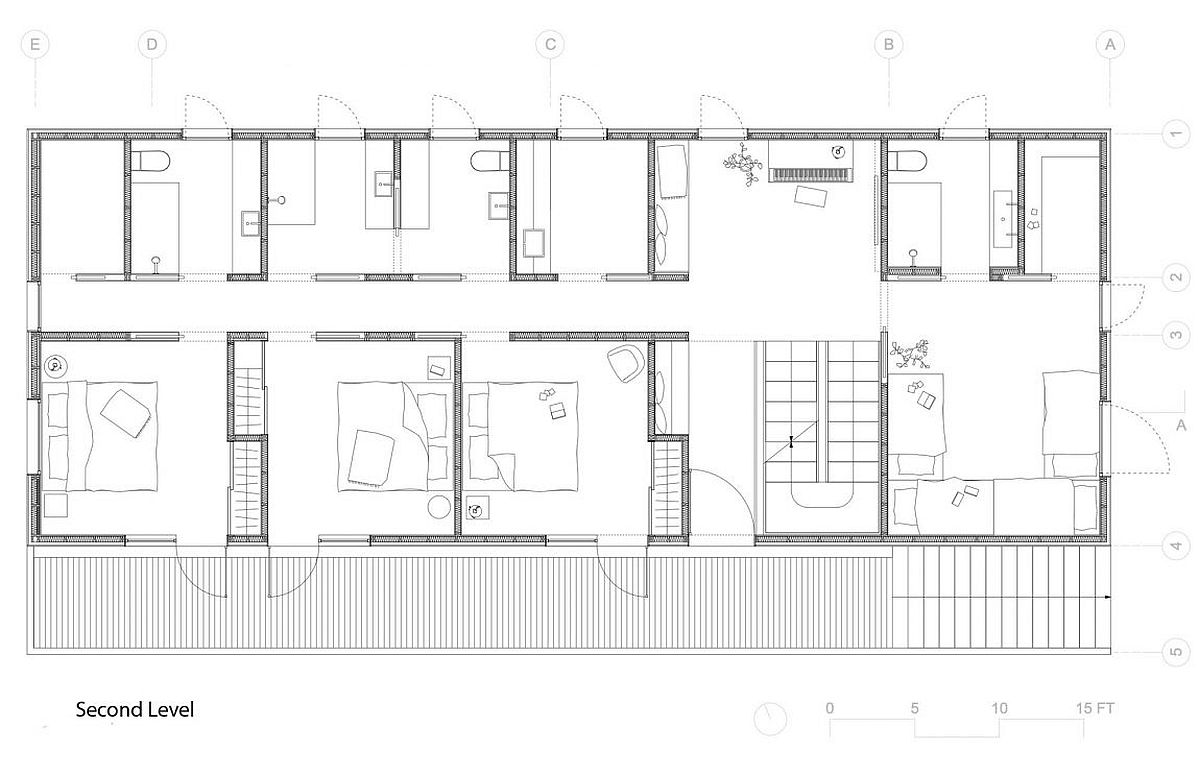 Floor plan of the second level of Trollhus by Mork-Ulnes Architects