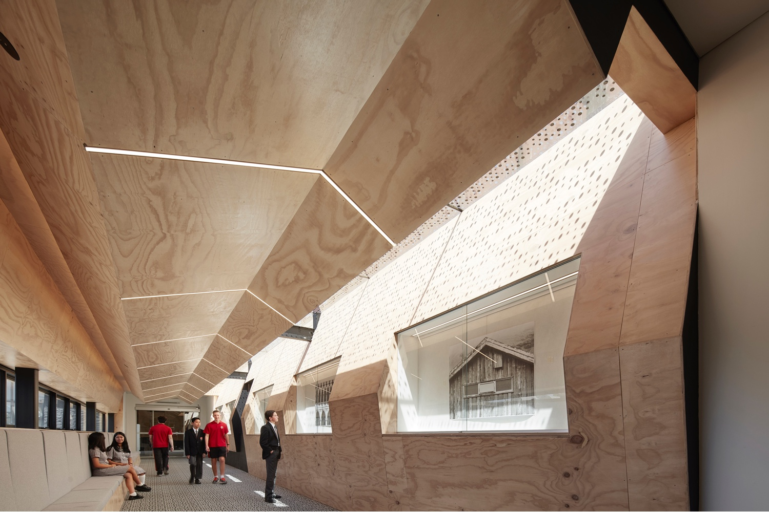 "Interior of the ""Flyover Gallery"" at Caroline Chisholm College in Braybrook, Victoria, Australia."
