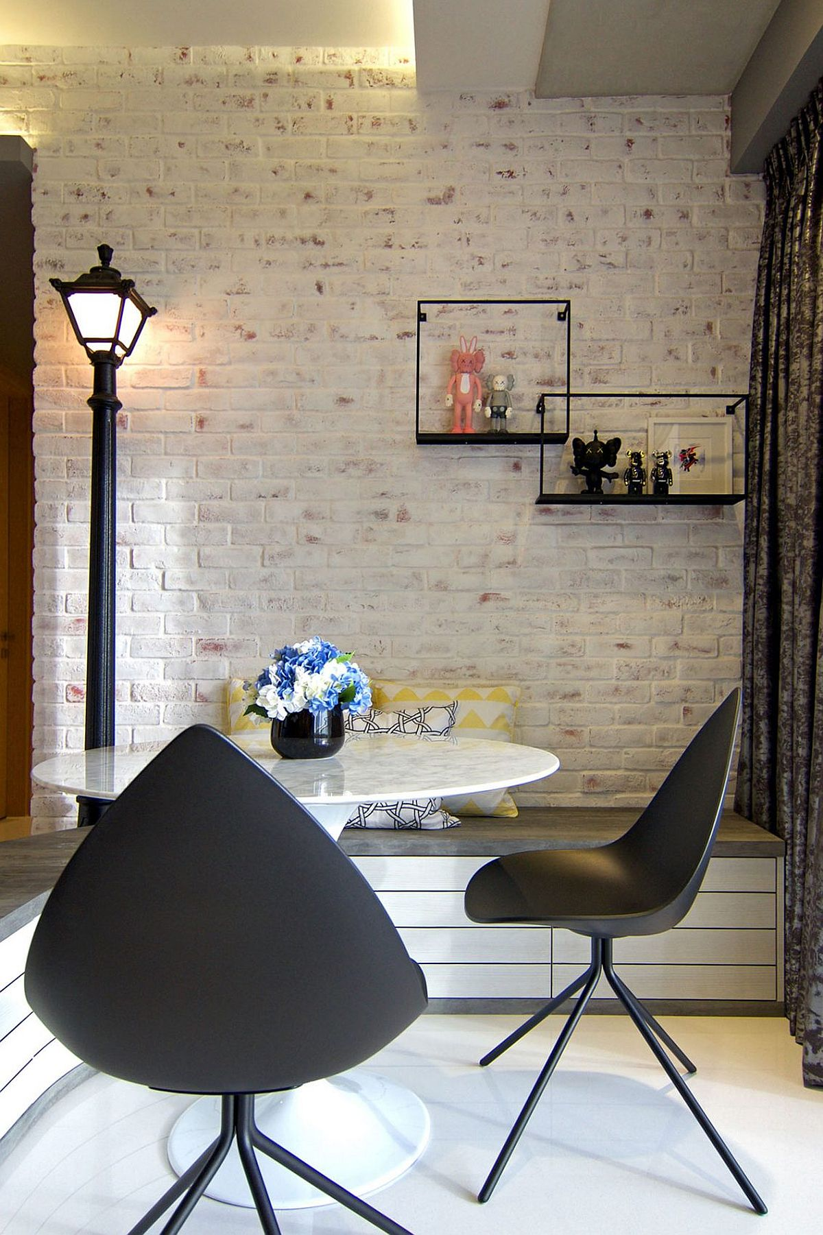 Framed toys bring fun to the cool dining space