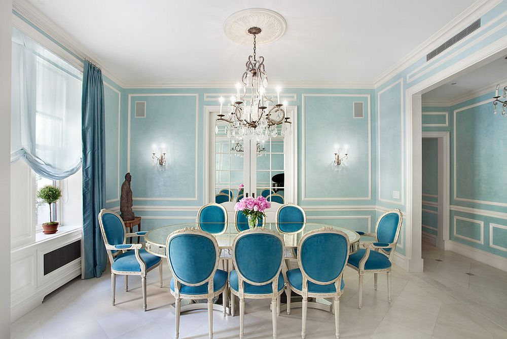 French classic and Victorian styles rolled into one in this gorgeous dining room in blue [Design: Gleicher Design - Architecture & Interiors]