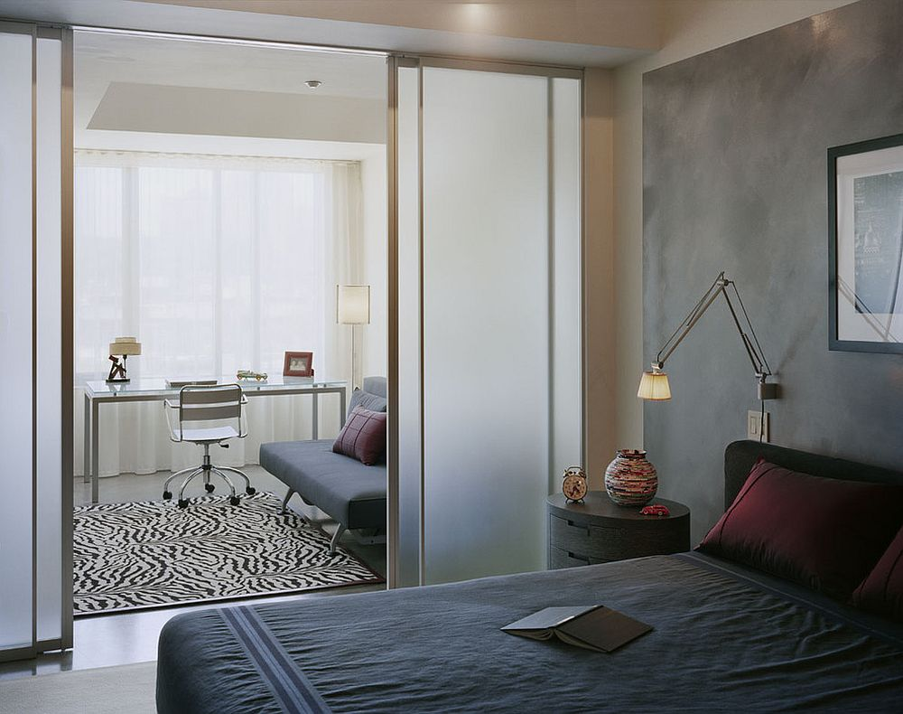 Frosted glass doors can replace room dividers for those who seek more privacy and tranquility