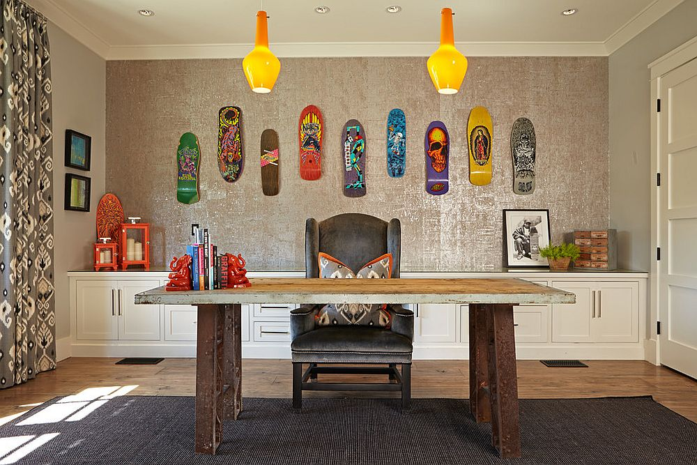 25 ingenious ways to bring reclaimed wood into your home for Fun office decorating ideas