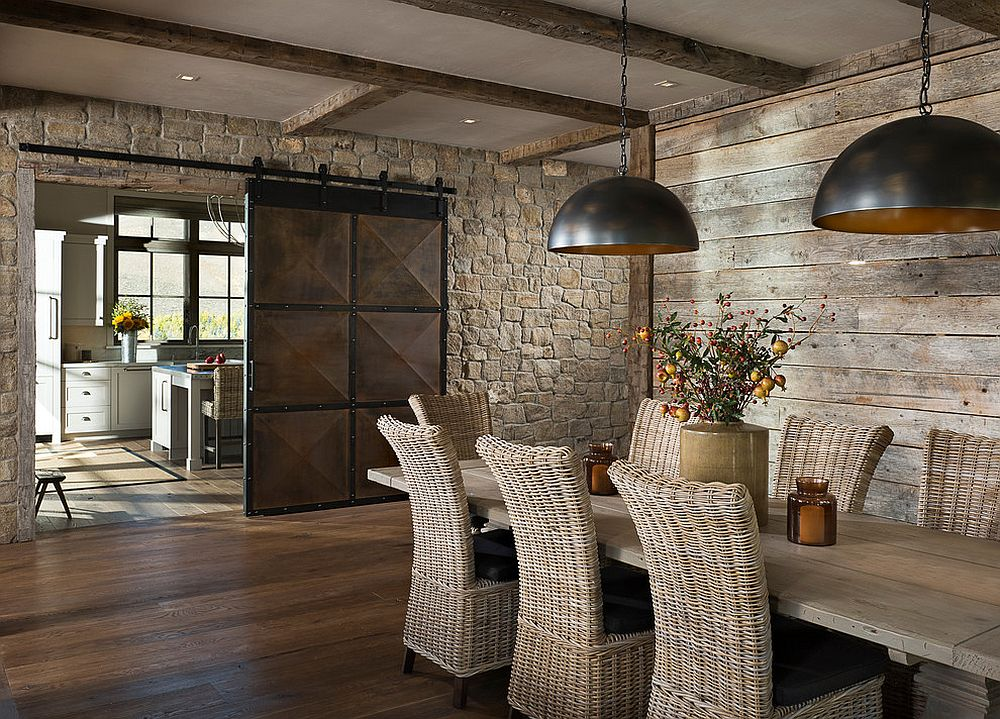 Give the dining room barn door an inventive twist