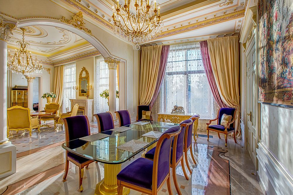 Gold and purple is the perfect color duo for the regal Victorian dining room [Design: Tumanova Ludmila]