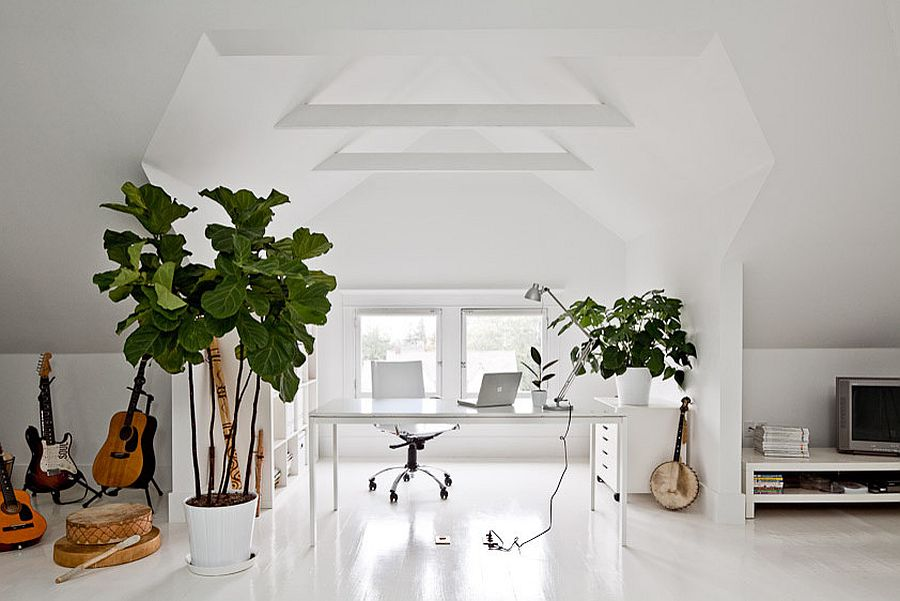 Gorgeous attic home office in white with indoor plants and plenty of freshness [Design: Jessica Helgerson Interior Design]