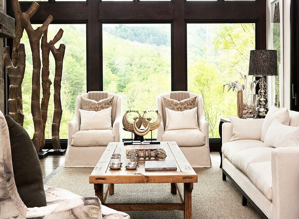 Gorgeous rustic sunroom with stunning views [Design: Resort Custom Homes]