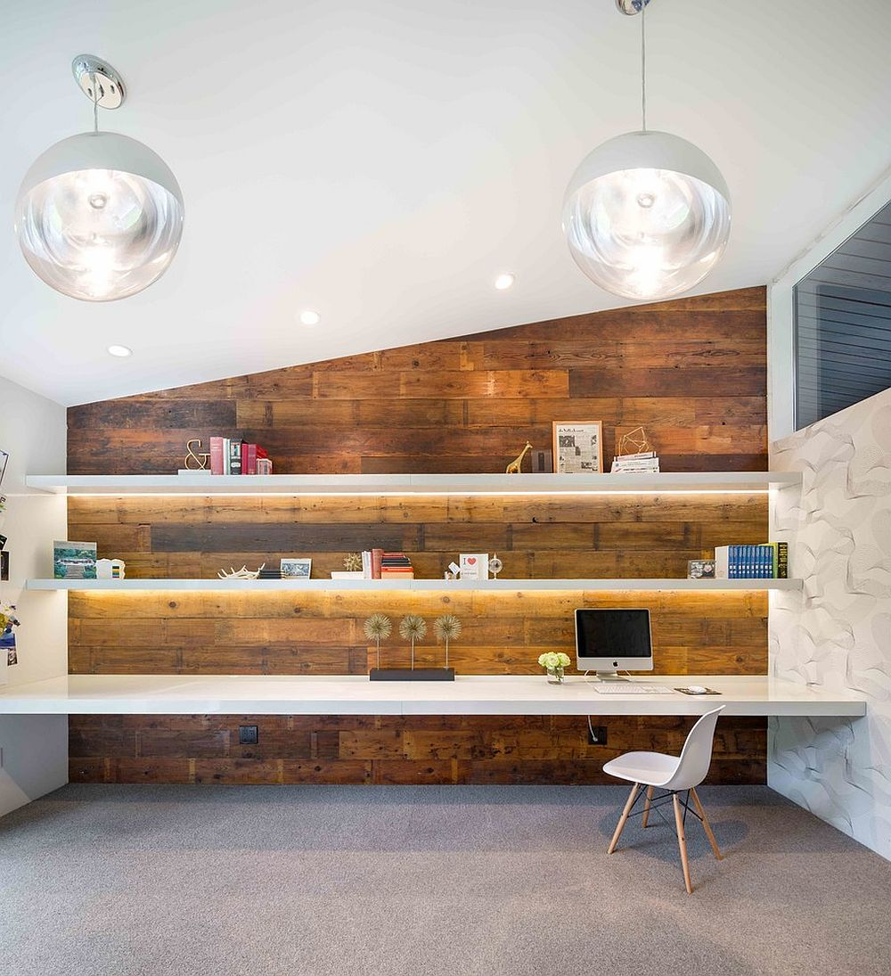 25 ingenious ways to bring reclaimed wood into your home office gorgeously lit shelves and reclaimed wood wall create a stunning midcentury modern home office from amipublicfo Images
