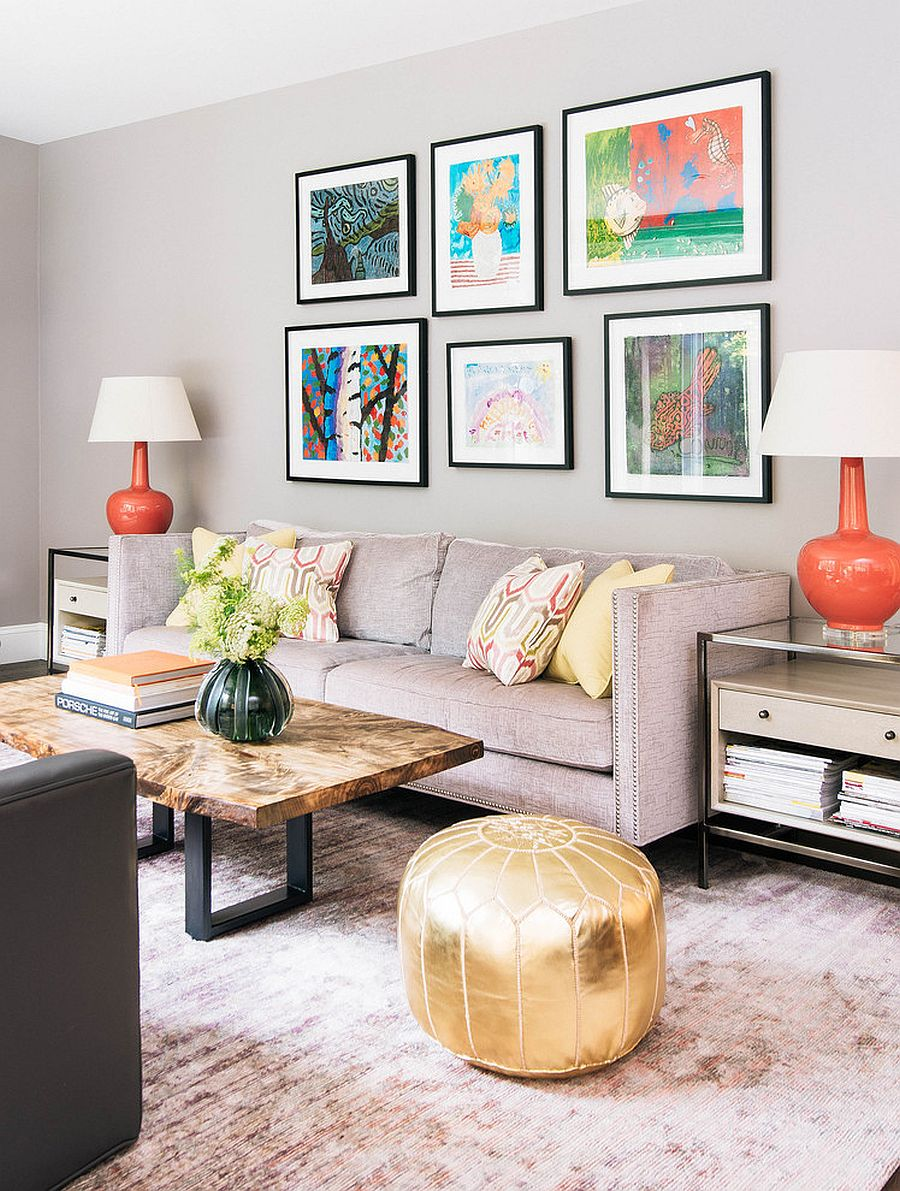 Gray living room with stylish gallery wall and live edge coffee table [From: Meghan Carter Design / Stephani Buchman Photography]