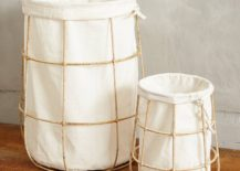 Grid and linen laundry basket from Anthropologie
