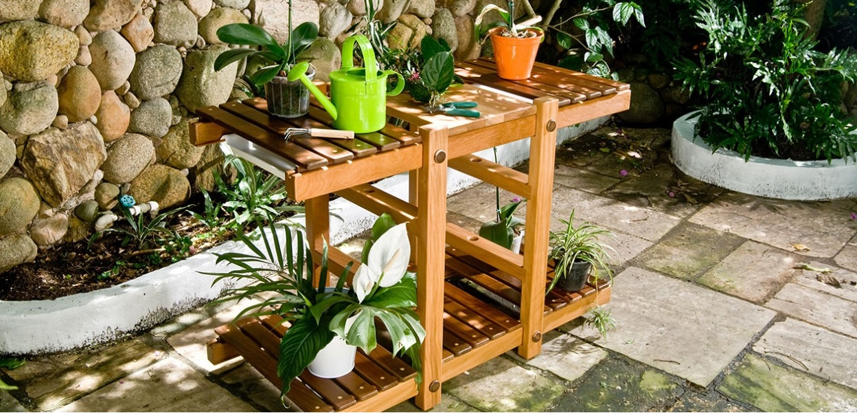 Perhaps a gardener's best friend, the solid wood Herbarium by Rodrigo Calixto is perfect for manicuring and maintaining potted plants.
