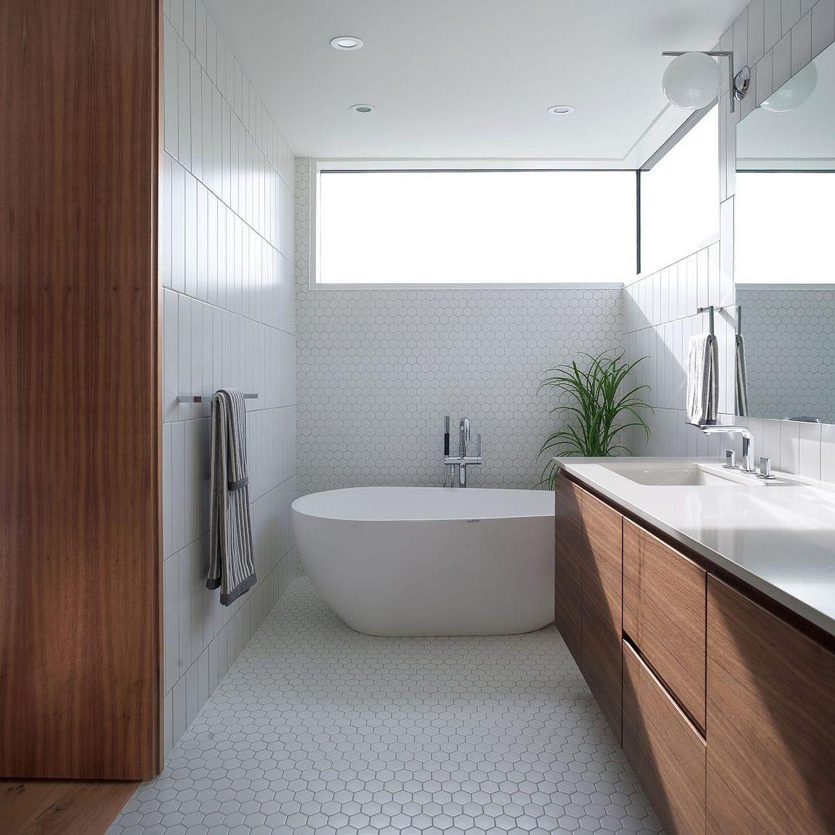 Hexagonal tiles in the modern bathroom in white