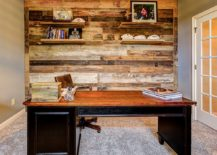 Home office accent wall crafted out of reclaimed barn wood