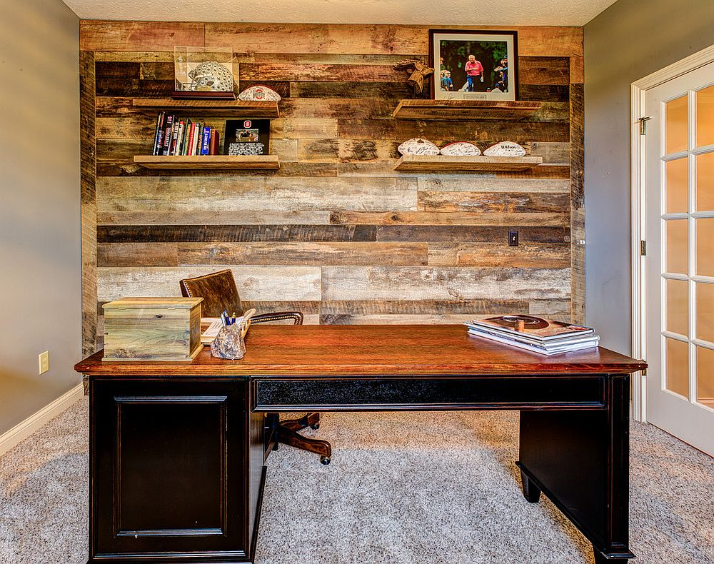 Home office accent wall crafted out of reclaimed barn wood [Design: Dan Calder Contractor]