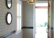Iconic David Hicks hexagon wallpaper is a timeless choice for the modern entryway