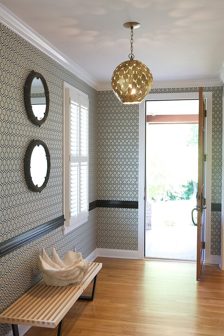 Iconic David Hicks hexagon wallpaper is a timeless choice for the modern entryway [Design: Heather Garrett Interior Design]