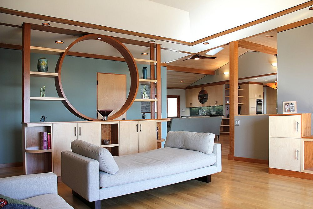 Imaginative room divider elevates the style quotient of the living room [Design: Madson Design]