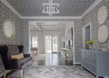 Imperial Trellis wallpaper for the entryway