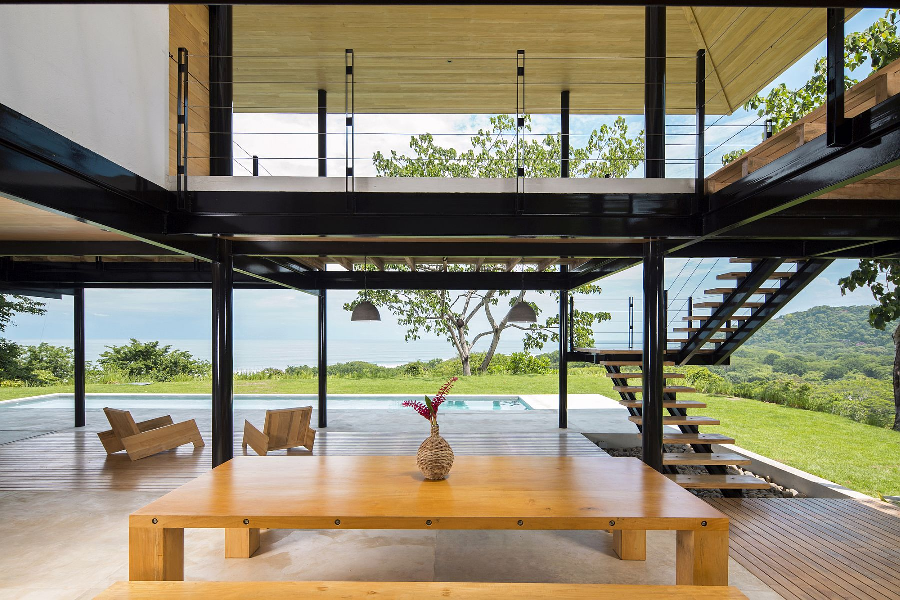Indoor dining space seems as much outside as it does inside!