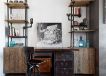 Industrial home office desk and shelving unit crafted from pipes and reclaimed wood