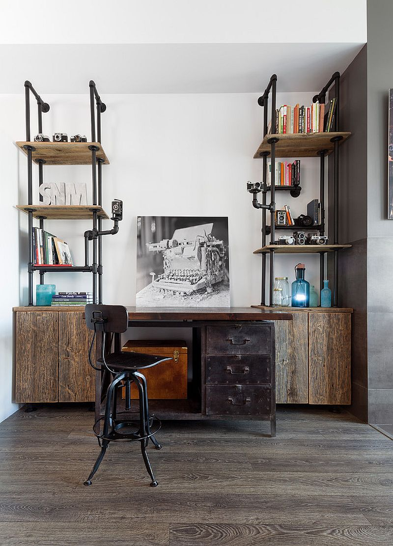 Industrial home office desk and shelving unit crafted from pipes and reclaimed wood [Design: Rad Design]
