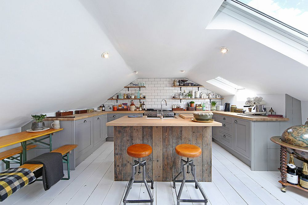 Industrial style attic kitchen in white with a woodsy island [Design: ALL & NXTHING]