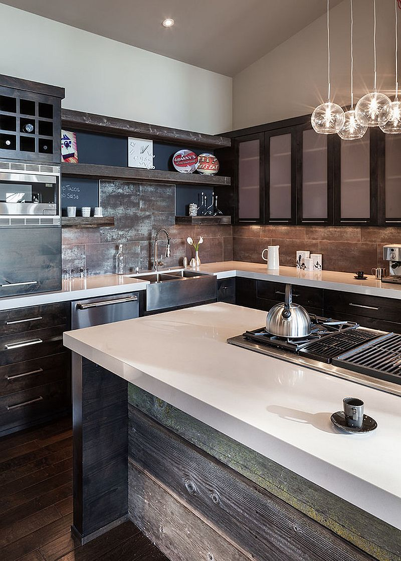 ... Ingenious Kitchen Backsplash Crafted From Reclaimed Wood [Design:  Jordan Iverson Signature Homes]