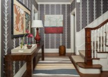 It is wallpaper that steals the show in this foyer