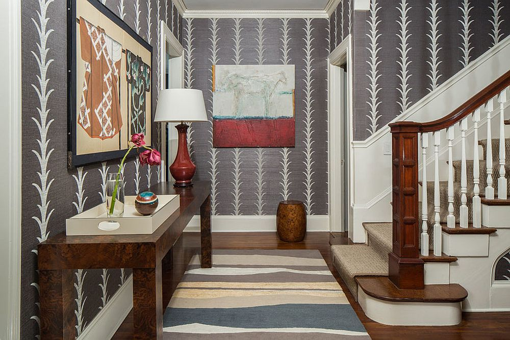 It is wallpaper that steals the show in this foyer [Design: Taste Design Inc]