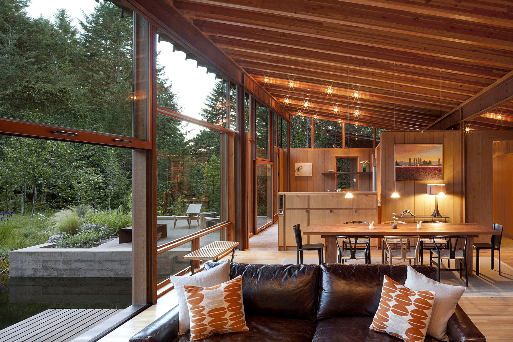 Kitchen and dining area at the serene Newberg Residence