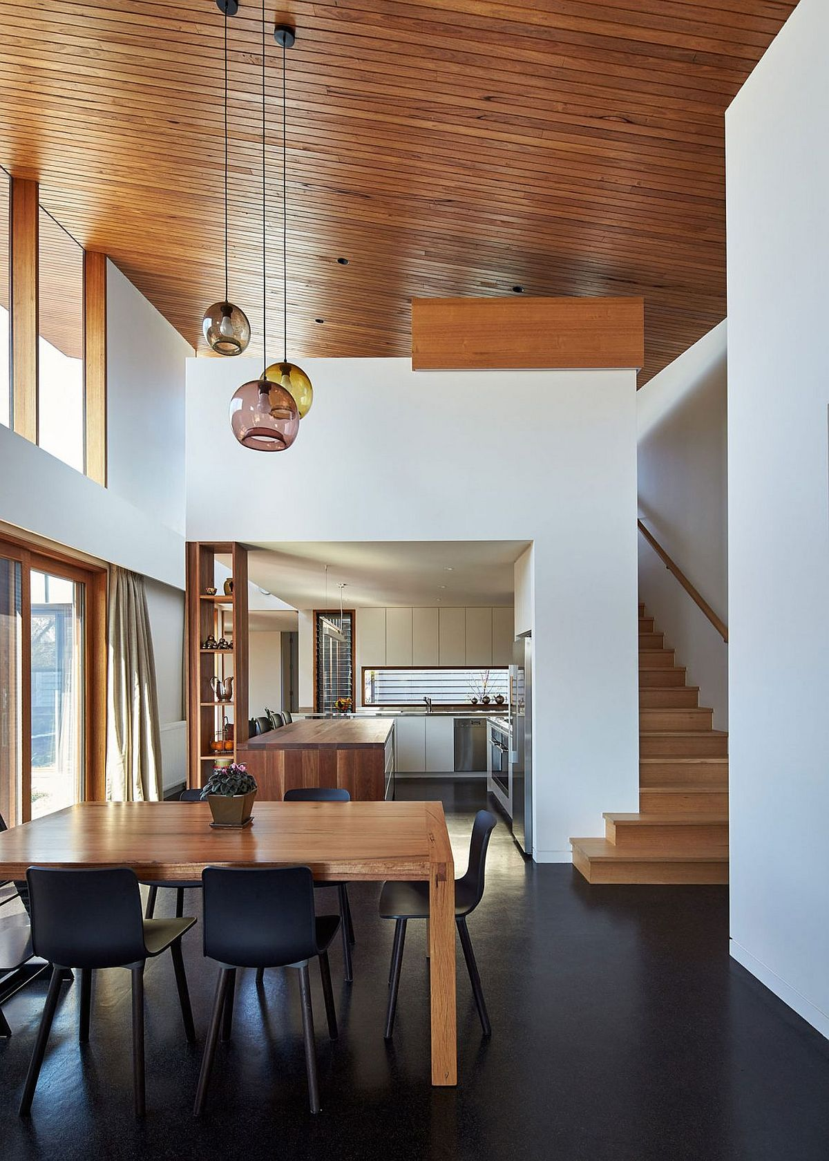 Kitchen area of the family home delineated from the living space