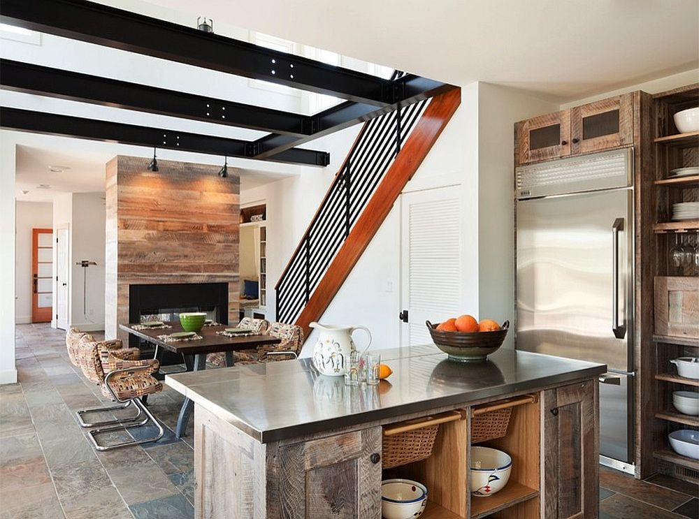 Kitchen cabinets and island crafted from reclaimed wood