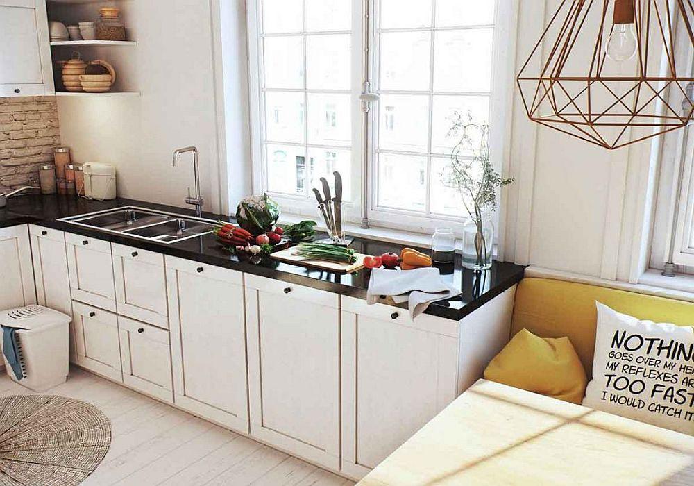 Kitchen workstation in black and white