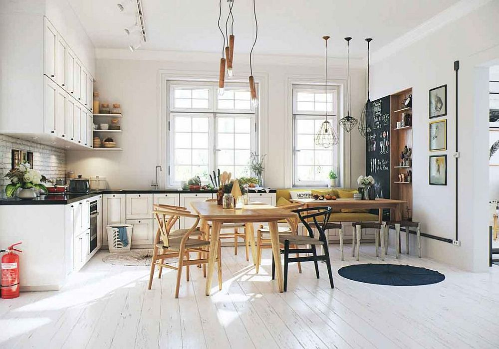 L-shaped Scandinavian kitchen in white with corner seating and dining space