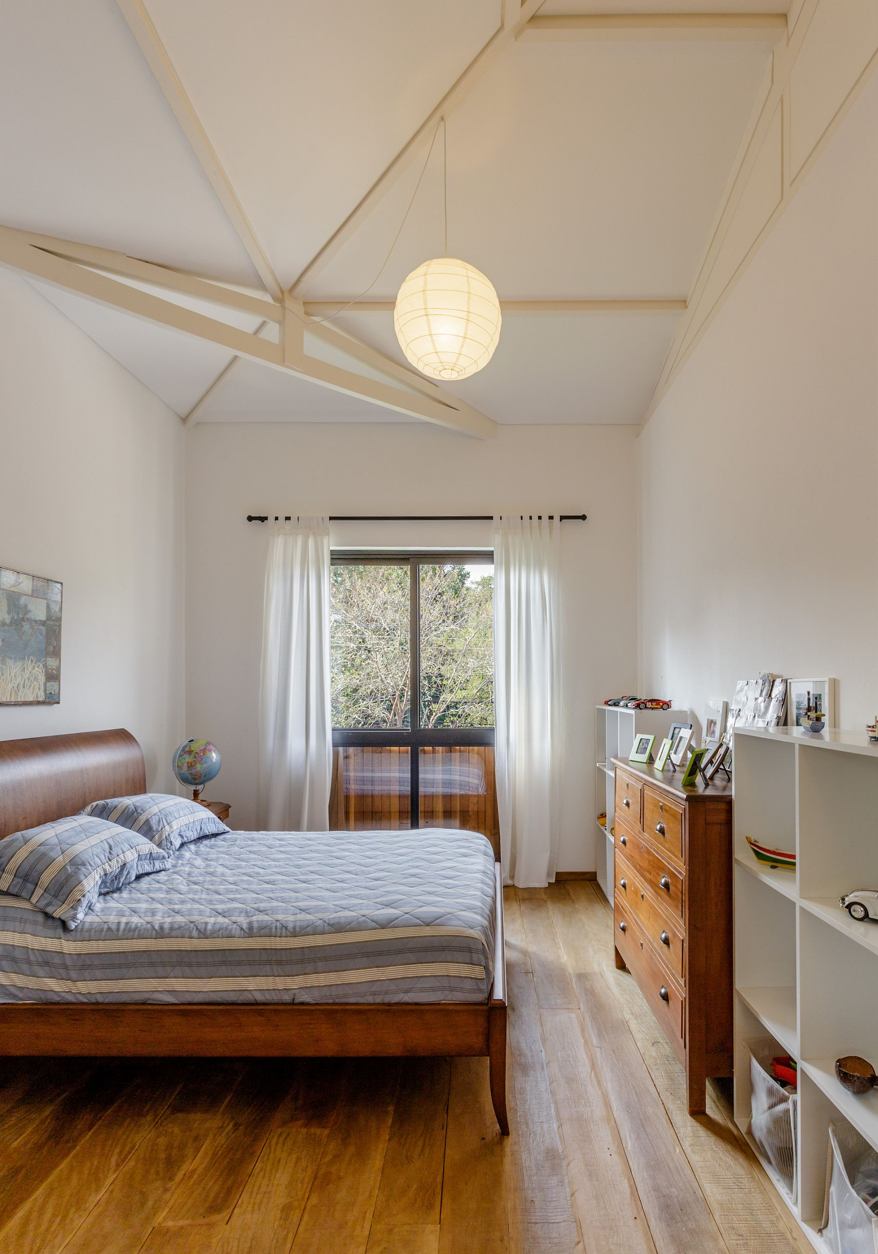Lantern style lighting for the bedroom with sloped ceiling