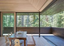 Large sliding glass doors blur the lines between the outdoors and the interior