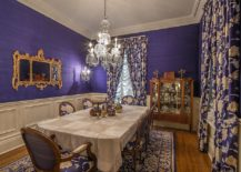 Lavish Victorian dining room in purple and gold