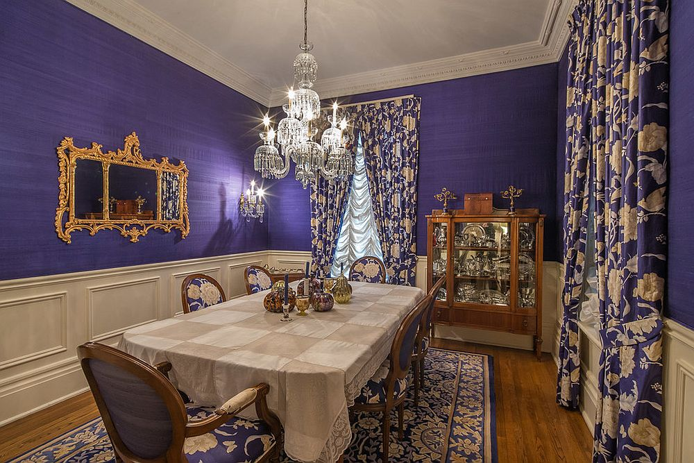Lavish Victorian dining room in purple and gold [From: Ridout Photography]