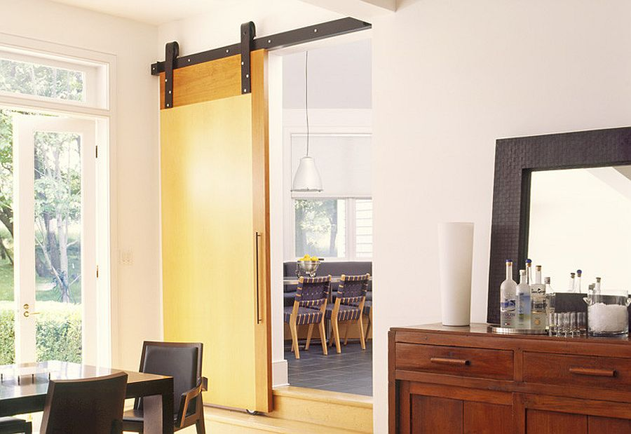 ... Light Filled Modern Dining Room With A Narrow Entry And Sliding Barn  Door [Design