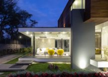 Lighting accentuates architectural features and colorful accents