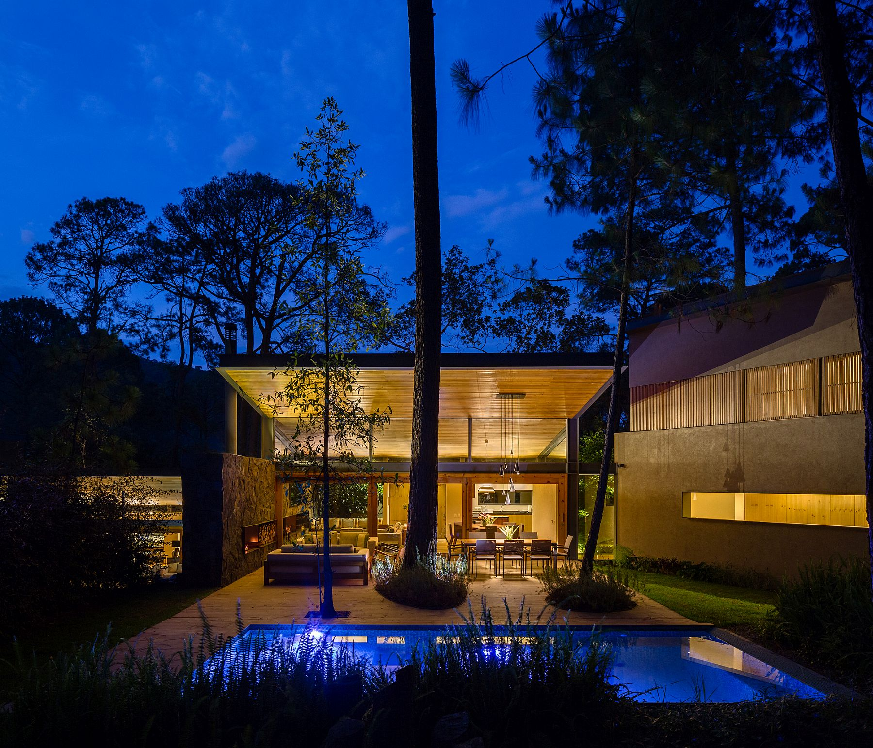 Lighting adds to the inviting warmth and opulenec of the Five Houses