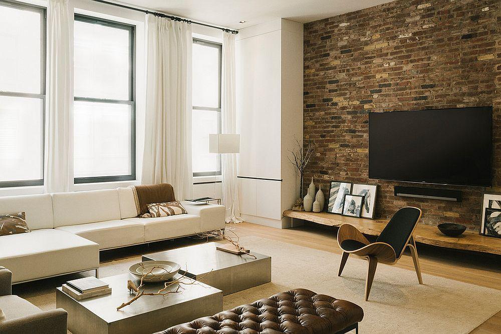 Live edge walnut shelf below the TV [Design: Raad Studio]
