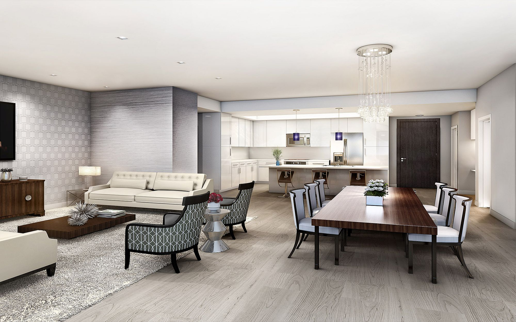 Living room of luxury condo at NINE